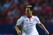 Samir Nasri of Sevilla FC runs with the ball during the UEFA Champions League Group H match between Sevilla FC and Olympique Lyonnais at the Ramon Sanchez-Pizjuan stadium on September 27, 2016 in Seville, .