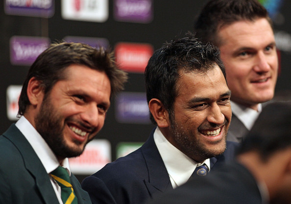 Shahid Afridi (L-R) Captain Shahid Afridi of Pakistan, Captain Mahendra Singh Dhoni of India and Captain Graeme Smith of South Africa at the captain's press conference at the Dhaka Sheraton Hotel on February 17, 2011 in Dhaka, Bangladesh.