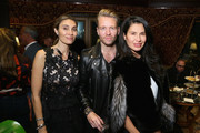 (L-R) Christina Sands, Michael Lillelund and Goga Ashkenazi attend Shamballa Eyewear cocktail during Milan Fashion Week FW16 at Hotel Principe di Savoia on February 27, 2016 in Milan, Italy.