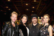 (L-R) Michael Lillelund, Goga Ashkenazi, Larry Sands and Christina Sands attend Shamballa Eyewear cocktail during Milan Fashion Week FW16 at Hotel Principe di Savoia on February 27, 2016 in Milan, Italy.