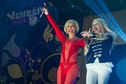 Spanish singer Soraya (L) and Italian singer Spagna (R) perform on stage during the Shangay Pride concert at the Vicente Calderon stadium on July 4, 2014 in Madrid, Spain.