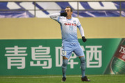 Luke Wilkshire of Sydney FC celebrates a goal during the AFC Champions League Group H match between Shanghai Shenhua FC and Sydney FC at Hongkou Stadium on February 21, 2018 in Shanghai, China.
