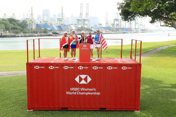 HSBC Women's Champions - Previews [hsbc womens champions - previews,red,grass,recreation,sports,advertising,stadium,competition event,leisure,games,tiffany chan,so yeon ryu,shanshan feng,l-r,south korea,hong kong,inbee park,china,united states]