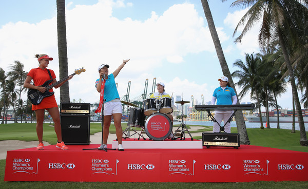 HSBC Women's Champions - Previews [hsbc womens champions - previews,leisure,technology,recreation,competition,tourism,vacation,advertising,stage equipment,lexi thompson,shanshan feng,lydia ko,l-r,usa,singapore,inbee park,china,photocall]