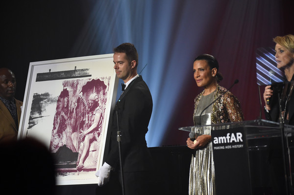 amfAR's Inspiration Gala Los Angeles - Show [event,youth,adaptation,performance,technology,music,speech,media,talent show,stage,andrea fiuczynski,sharon stone,r,c,los angeles,west coast,amfar,sotheby,inspiration gala,show]