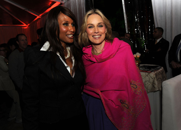 Sharon Stone Model Beverly Johsnon (L) and actress Sharon Stone attend The Hollywood Reporter Nominees' Night Party at the Getty House on February 24, 2011 in Los Angeles, California.