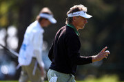 Bernhard Langer of Germany reacts after sinking a putt on the 3rd green during the first round of the Shaw Charity Classic at the Canyon Meadows Golf and Country Club on August 31, 2018 in Calgary, Canada.