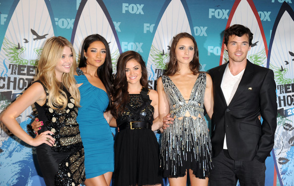 Shay Mitchell Performers/actors Ashley Benson, Shay Mitchell, Lucy Hale, Troian Avery Bellisario, and Ian Harding pose in press room during the 2010 Teen Choice Awards at Gibson Amphitheatre on August 8, 2010 in Universal City, California.