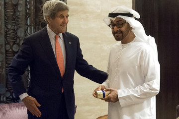 Sheikh Mohammed John Kerry on Visit to the United Arab Emirates
