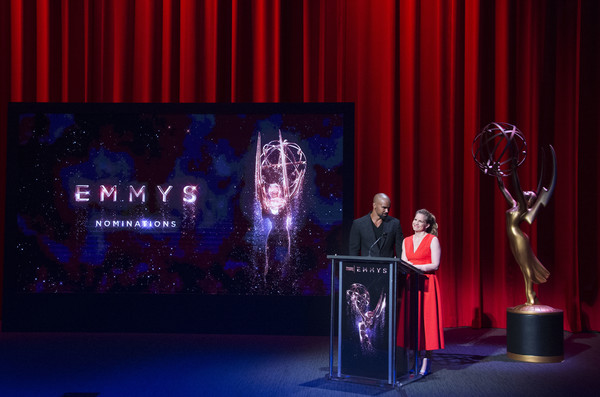 69th Emmy Awards Nominations Announcement [saturday night live,westworld,sci-fi western,stage,text,curtain,performance,talent show,event,theater curtain,heater,design,textile,actors,shemar moore,nominees,anna chlumsky,emmy awards,l,nominations announcement]