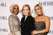 (L-R) Model Halima Aden, fashion designer Sherri Hill, and singer Bebe Rexha attend the Sherri Hill NYFW Spring 2020 runway show at Cipriani 42nd Street on September 06, 2019 in New York City.