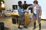Mary Elizabeth Ellis (R) draws a name for a tattoo winner at Shinola, Scott Campbell and Nathan Kostechko Mother's Day Celebration on May 12, 2018 in Los Angeles, California.