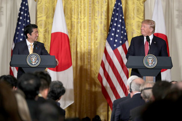 Shinzo Abe Trump Holds Joint Press Conference With Japanese PM Shinzo Abe