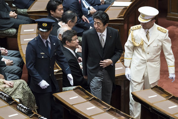 Shinzo Abe Japanese Prime Minister Shinzo Abe Delivers Policy Speech As Extraordinary Diet Session Begins