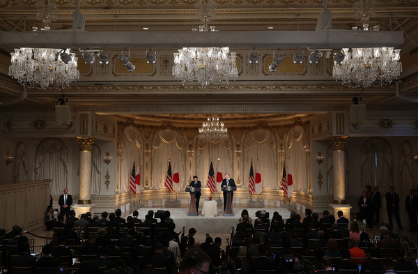 Trump And Japanese Prime Minister Abe Hold Joint Press Conference At Mar-a-Lago