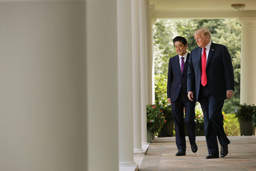 Shinzo Abe Trump Holds Joint News Conference With Japanese Prime Minister Shinzo Abe