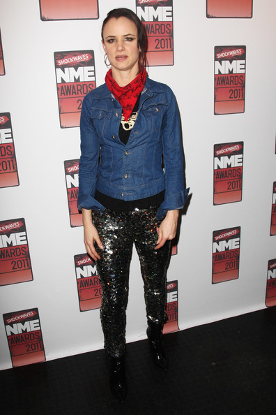 (UK TABLOID NEWSPAPERS OUT) Juliette Lewis poses in front of the winners boards at the Shockwaves NME Awards 2011 held at Brixton Academy on February 23, 2011 in London, England.