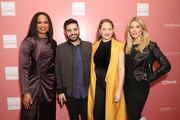 """(L-R) Co-Hosts Garcelle Beauvais, Michael Costello, Dress for Success Worldwide-West, Director Lesley Brillhart, and Co-Host Katheryn Winnick arrive at """"Shop for Success"""": Dress for Success West Coast (LA) fundraiser on November 29, 2018 in Los Angeles, California."""