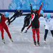 Canadian Charles Hamelin celebrated his Short Track win seconds after crossing the finish line.