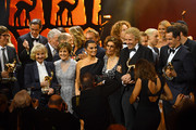 Center (L-R)  'Livetime Achievement' award winner Liselotte Pulver, Paola Felix, 'Actress International' award winner Penelope Cruz, Sophia Loren, Thomas Gottschalk and 'Our Earth' award winner Sebastian Copeland are seen on stage at the end of the 70th Bambi Awards show at Stage Theater on November 16, 2018 in Berlin, Germany.