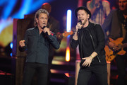 Peter Maffay and Johannes Oerding perform on stage during the 71st Bambi Awards show at Festspielhaus Baden-Baden on November 21, 2019 in Baden-Baden, Germany.