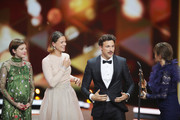 Award winners Jella Haase, Jessica Schwarz, Florian David Fitz and Lena Schoemann pose on stage during the 71st Bambi Awards show at Festspielhaus Baden-Baden on November 21, 2019 in Baden-Baden, Germany.