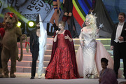 (L-R) Conchita Wurst, Lorna Luft and Dianne Brill perform on stage during the Life Ball 2019 show at City Hall on June 08, 2019 in Vienna, Austria. After 26 years the charity event Life Ball will take place for the very last time, raising funds for HIV & AIDS projects.