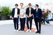 """(L-R) Niels Schneider, Paul Hamy, Gaspard Ulliel and Arthur Harari attend thephotocall for """"Sibyl""""  during the 72nd annual Cannes Film Festival on May 25, 2019 in Cannes, France."""
