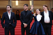 """(L-R) Arthur Harari, Gaspard Ulliel, Laure Calamy and Justine Triet attend the screening of """"Sibyl"""" during the 72nd annual Cannes Film Festival on May 24, 2019 in Cannes, France."""