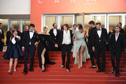 """(L-R) Laure Calamy, Niels Schneider, Virginie Efira, Adele Exarchopoulos, Justine Triet, Gaspard Ulliel, Paul Hamy and Arthur Harari depart the screening of """"Sibyl"""" during the 72nd annual Cannes Film Festival on May 24, 2019 in Cannes, France."""