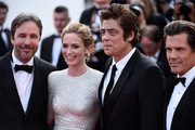 "(L-R) Director Denis Villeneuve, actors Emily Blunt, Benicio Del Toro and Josh Brolin attend the Premiere of ""Sicario"" during the 68th annual Cannes Film Festival on May 19, 2015 in Cannes, France."