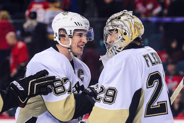 Sidney Crosby Marc-Andre Fleury Pittsburgh Penguins v Calgary Flames