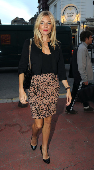 Chanel Handbag 2.55 and Sienna Miller. Her skirt is so beautiful.