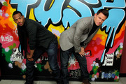 "Actors Marlon Wayans and Channing Tatum pose at the fuse wall during a visit to fuse's ""No. 1 Countdown"" at fuse Studios on August 4, 2009 in New York City."