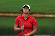 Yani Tseng of Chinese Taipei in dismay after she played a  shot on the 8th hole during day one of the Sime Darby LPGA Malaysia at TPC Kuala Lumpur East Course on October 26, 2017 in Kuala Lumpur, Malaysia.