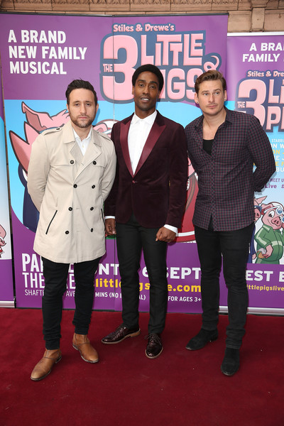 'The Three Little Pigs' - VIP Performance - Pink Carpet Arrivals [the three little pigs,red carpet,carpet,event,premiere,flooring,carpet arrivals,simon webbe,lee ryan,anthony costa,performance,vip performance,l-r,palace theatre,vip]