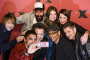 (L-R front row): Andreas Bourani, Sebastian Krumbiegel, Xavier Naidoo and Hartmut Engler and (L-R second row): Tobias Kuenzel,  Daniel Wirtz, Yvonne Catterfeld and Christina Stuermer attend a photocall for the TV show 'Sing meinen Song' on February 23, 2015 in Berlin, Germany.