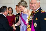 Queen Mathilde of Belgium, Sir Peter Cosgrove, Governor General of the Commonwealth of Australia and King Philip of Belgium welcome guests prior to the banquet at the Royal Castle on the first day of the official visit to Belgium on June 27, 2018 in Laeken, Belgium.