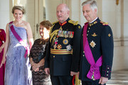 Queen Mathilde of Belgium, H.E. Lady Cosgrove , Sir Peter Cosgrove, Governor General of the Commonwealth of Australia and King Philip of Belgium pose for the picture prior to the banquet at the Royal Castle on the first day of the official visit to Belgium on June 27, 2018 in Laeken, Belgium.