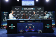 (L-R) Brady Quinn, Xavier Rhodes, Bruce Gradkowski and Bruce Murray attend SiriusXM at Super Bowl LIII Radio Row on January 31, 2019 in Atlanta, Georgia.