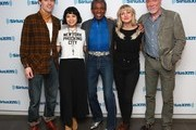 """(L-R) Reeve Carney, Eva Noblezada, Andre De Shields, Anais Mitchell and Patrick Page attend SiriusXM's """"On Broadway Curtain Call With The Cast Of Hadestown"""" on May 09, 2019 in New York City."""