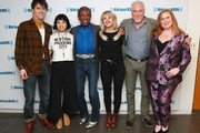 """(L-R) Reeve Carney, Eva Noblezada, Andre De Shields, Anais Mitchell, Patrick Page and SiriusXM host Julie James attend SiriusXM's """"On Broadway Curtain Call With The Cast Of Hadestown"""" on May 09, 2019 in New York City."""