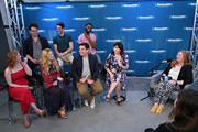 (front row L-R) Caissie Levy, Patti Murin, Robert Lopez, Kristen Anderson-Lopez (back row L-R) Greg Hildreth, John Riddle and Jelani Alladin take part as SiriusXM on Broadway presents 'Curtain Call with FROZEN The Broadway Musical' featuring conversations with the show's stars and Tony-nominated songwriting team hosted by SiriusXM's Julie James at the SiriusXM Studios on May 24, 2018 in New York City.