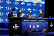 (L-R) SiriusXM Host Bruce Murray, Former NFL player Carson Palmer, NFL Hall of Famer Brian Dawkins, and SiriusXM Host Brady Quinn speak onstage during day one with SiriusXM at Super Bowl LIV on January 29, 2020 in Miami, Florida.