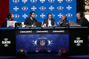 (L-R) SiriusXM host Bruce Murray, SiriusXM host Ed McCaffrey, former sportscaster Steve Mariucci,  former NFL player Joe Montana and SiriusXM host Charlie Weis speaks onstage during day 3 of SiriusXM at Super Bowl LIV on January 31, 2020 in Miami, Florida.