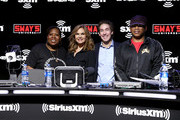 (L-R) SiriusXM host, Heather B, SiriusXM host Victoria Osteen, SiriusXM host Joel Osteen, SiriusXM host Sway Calloway take photos onstage during day 3 of SiriusXM at Super Bowl LIV on January 31, 2020 in Miami, Florida.