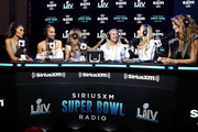(L-R) SiriusXM host Olivia Culpo, SiriusXM host Jasmine Sanders, SiriusXM host Josephine Skriver, NFL defensive end Chase Winovich of the New England Patriots, SiriusXM host Camille Kostek and SiriusXM host Kate Bock speak onstage during day 3 of SiriusXM at Super Bowl LIV on January 31, 2020 in Miami, Florida.