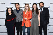 (L-R) Alex Borstein, Michael Zegen, Rachel Brosnahan, Marin Hinkle and Tony Shalhoub attend SiriusXM's Town Hall with the cast of 'The Marvelous Mrs. Maisel' hosted by SiriusXM's Michelle Collins on December 04, 2019 in New York City.