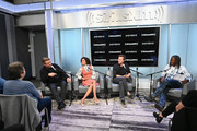 """(L-R) Actors Alec Baldwin, Gugu Mbatha-Raw, Edward Norton talk with SiriusXM host Mark Ruffin during SiriusXM's Town Hall with the cast of """"Motherless Brooklyn"""" on October 21, 2019 in New York City."""