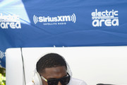 """Reggie Bush is interviewed at SiriusXM""""s """"UMF Radio"""" Broadcast Live From The SiriusXM Music Lounge at W Hotel on March 26, 2015 in Miami, Florida."""